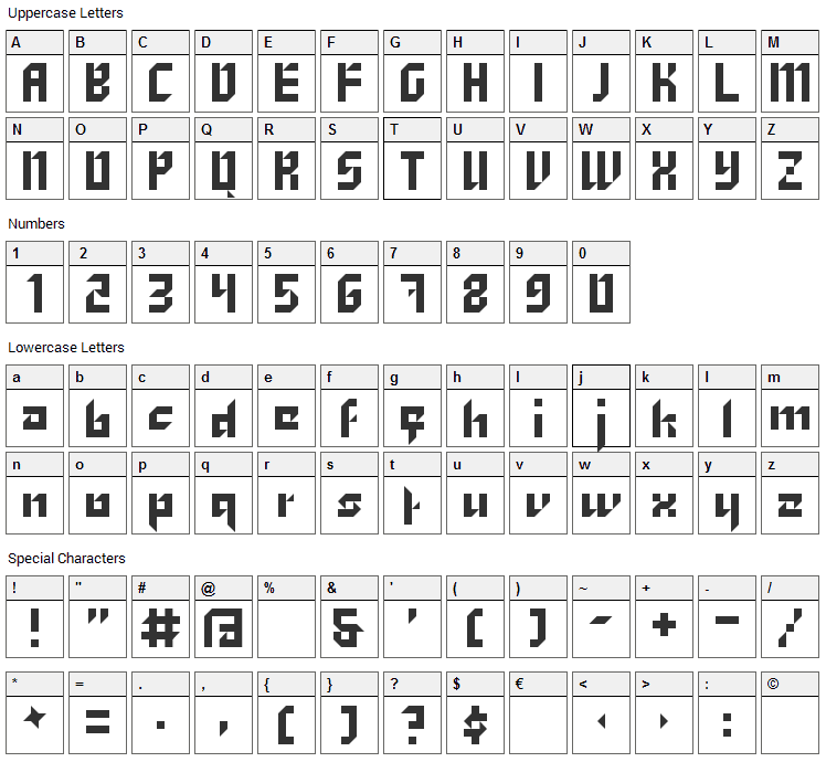 Zhang Font Character Map
