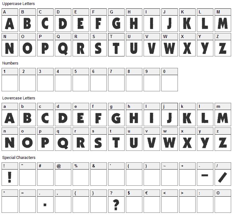 Zhukov Zippo Font Character Map