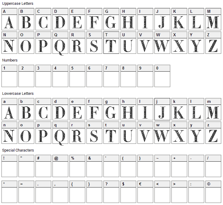 Zierinitialen Font Character Map