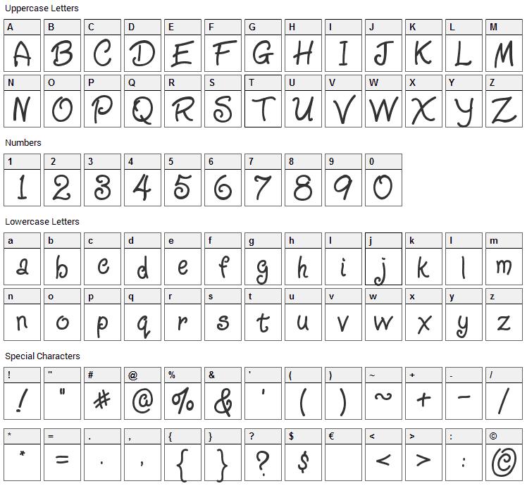 Ziggy Zoe Font Character Map