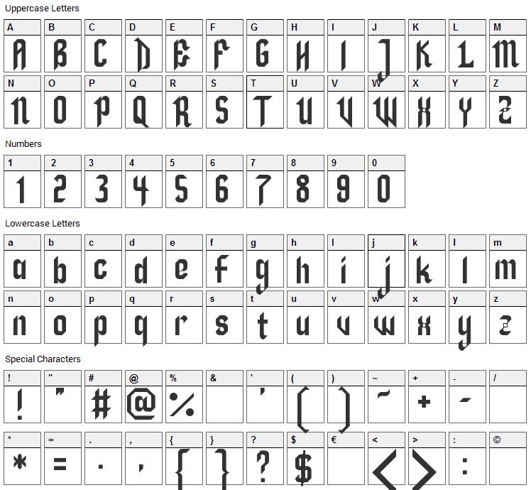 Zillah Font Character Map