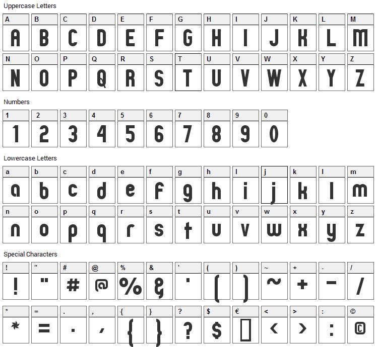 Zillah Modern Font Character Map