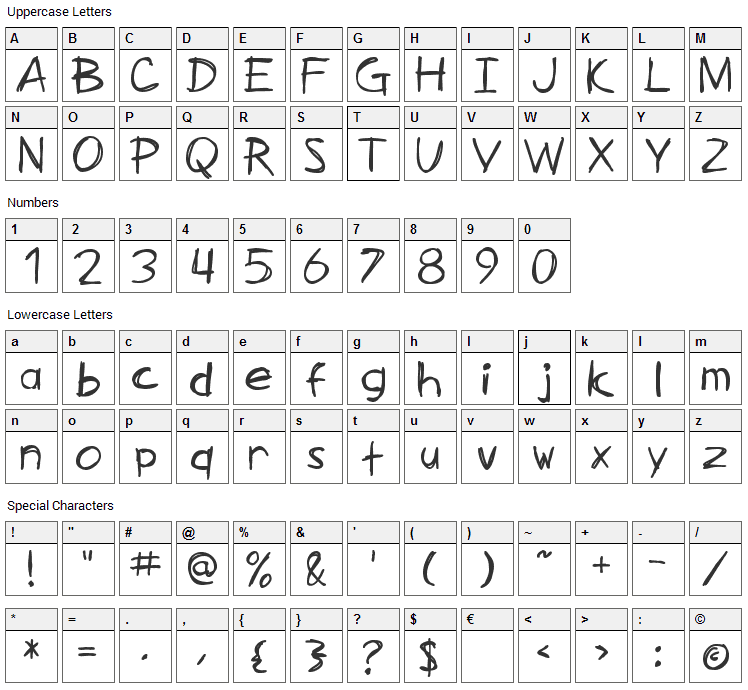 Zimmerman Font Character Map