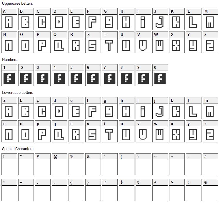 Zipper Font Character Map