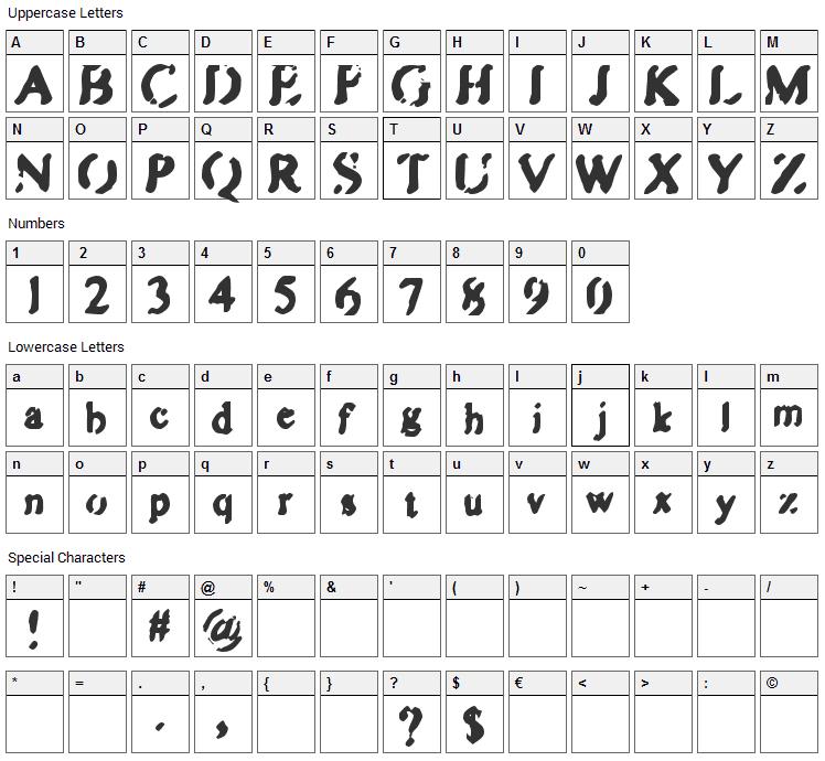 Zipple Font Character Map