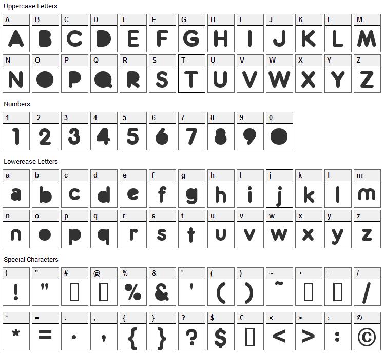 Zitti Font Character Map