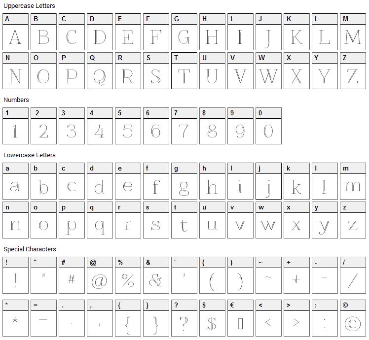 Znikomit No25 Font Character Map