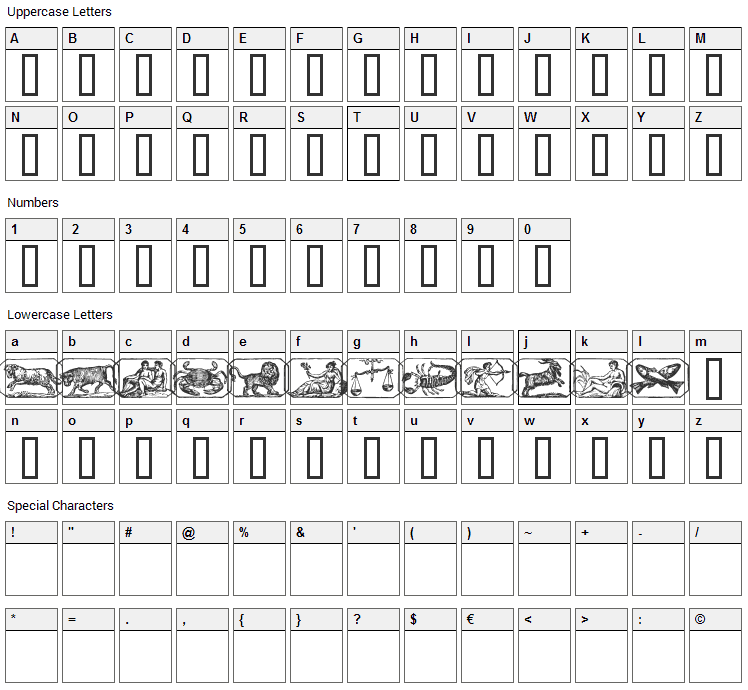 Zodiac 00 Font Character Map