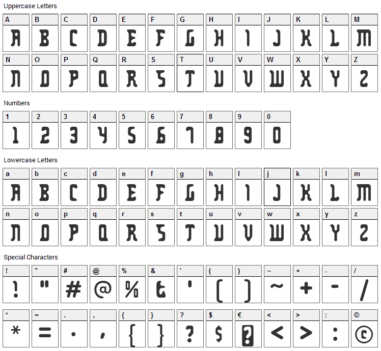 Zodillin Font Character Map
