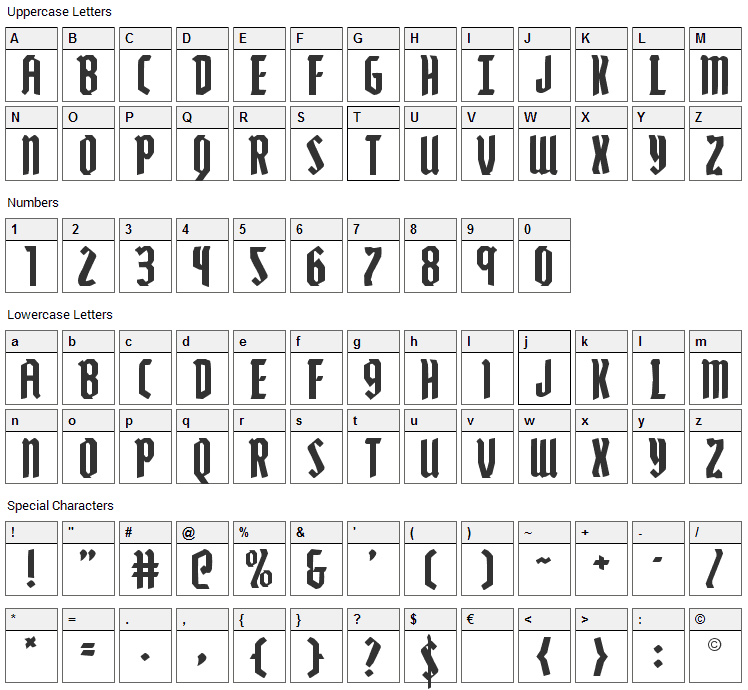 Zollern Font Character Map