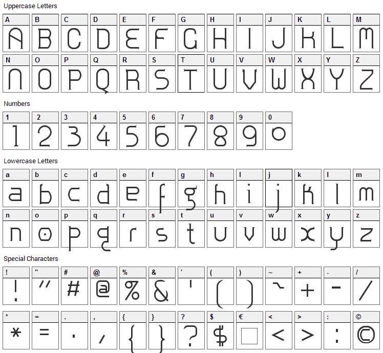 Zoloft Font Character Map