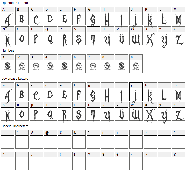 Zombie Holocaust Font Character Map