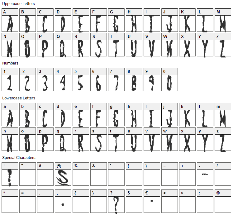 Zombie Shooting Font Character Map