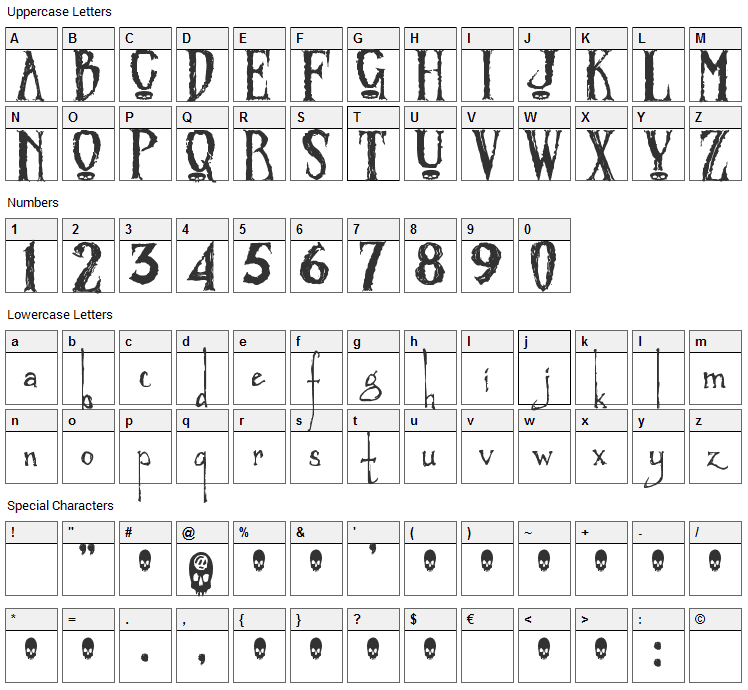 Zombified Font Character Map