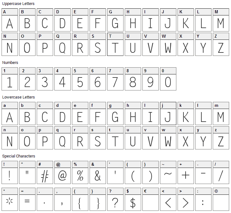 Zomnk Font Character Map