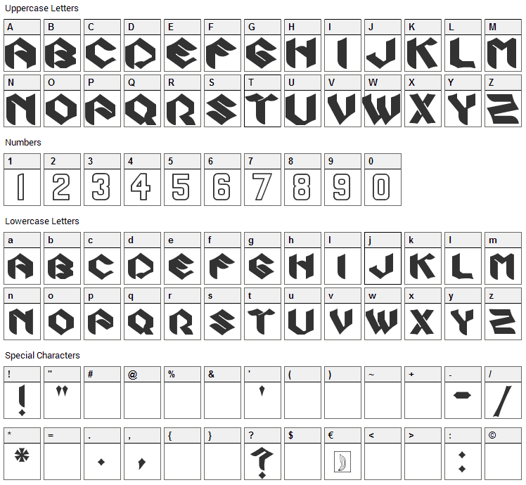 Zook Font Character Map