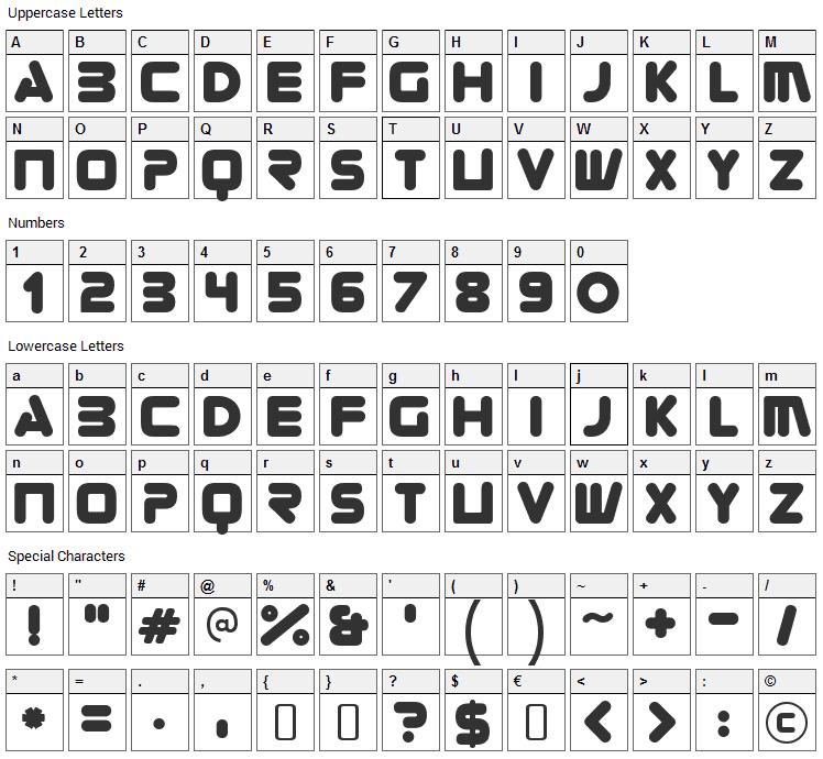 Zorque Font Character Map
