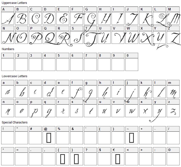 Zothique Font Character Map