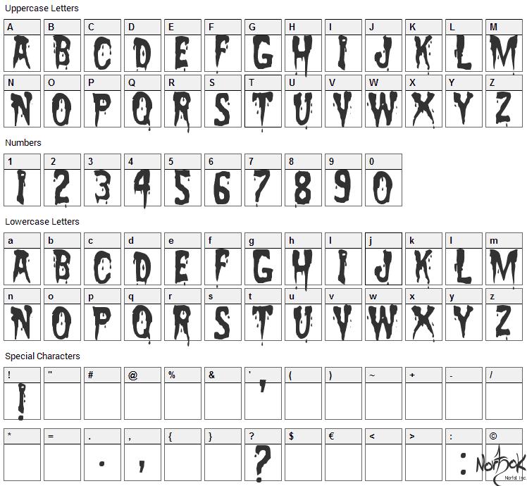 Zreaks Font Character Map
