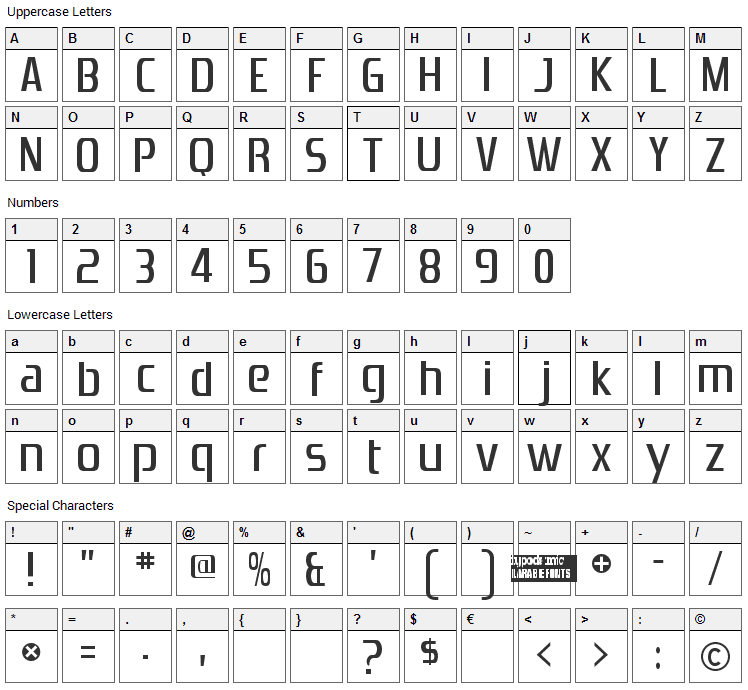 Zrnic Font Character Map