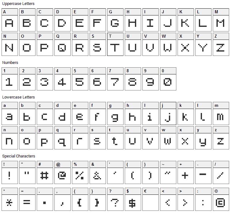 ZXpix Font Character Map