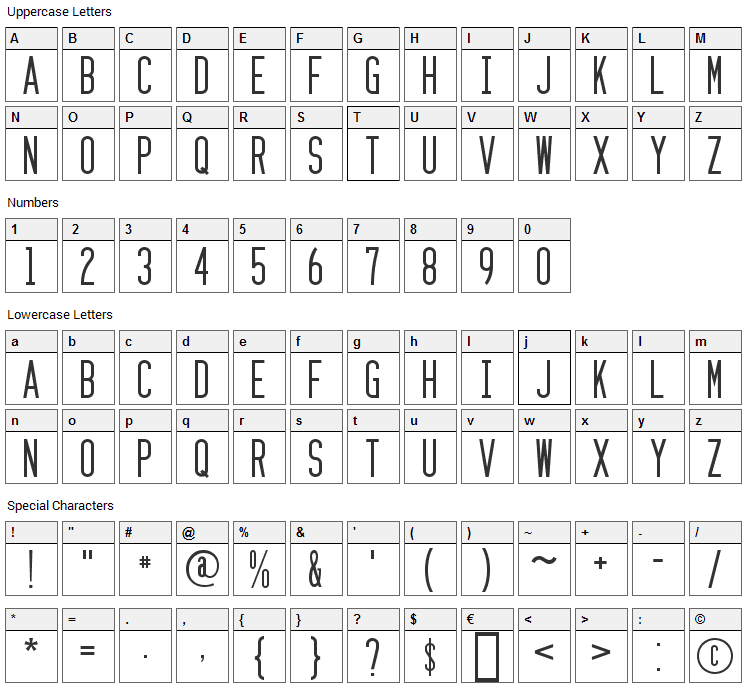 Zzyzx Font Character Map