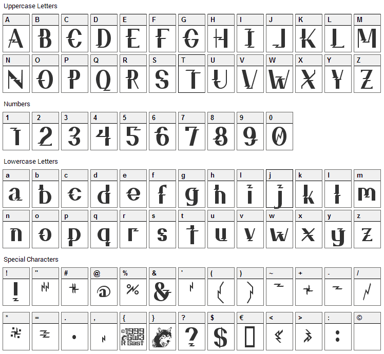 ZZZ Top Font Character Map